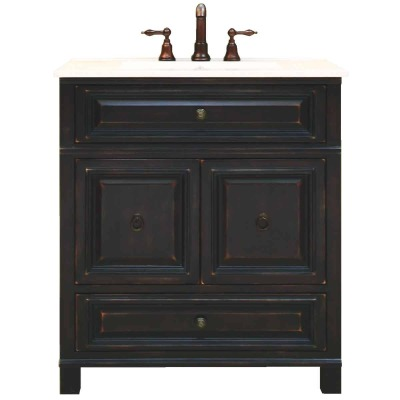 Sunny Wood Barton Hill Black Onyx 30 In. W x 34 In. H x 21 In. D Vanity Base, 2 Door/1 Drawer