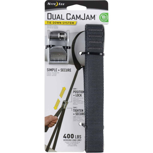 Nite Ize Dual CamJam 1 In. x 18 Ft. 400-Lb. Working Load Limit Tie-Down Strap