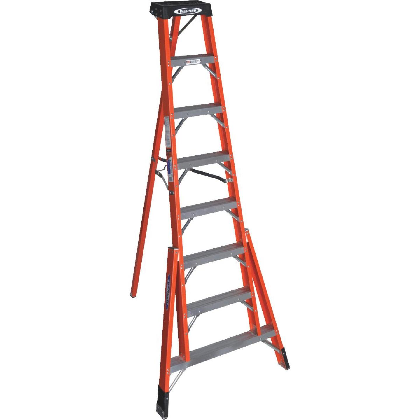 Werner 8 Ft. Fiberglass Tripod Step Ladder with 300 Lb. Load Capacity Type IA Ladder Rating Image 2