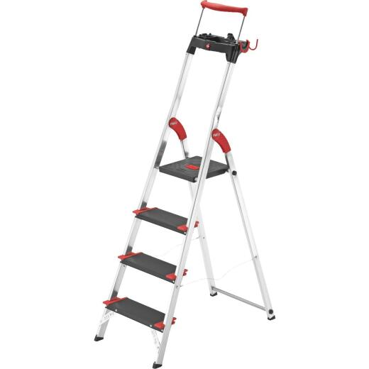 Hailo XXR225 5 Ft. Aluminum Step Ladder with Safety Rail & 330 Lb. Load Capacity