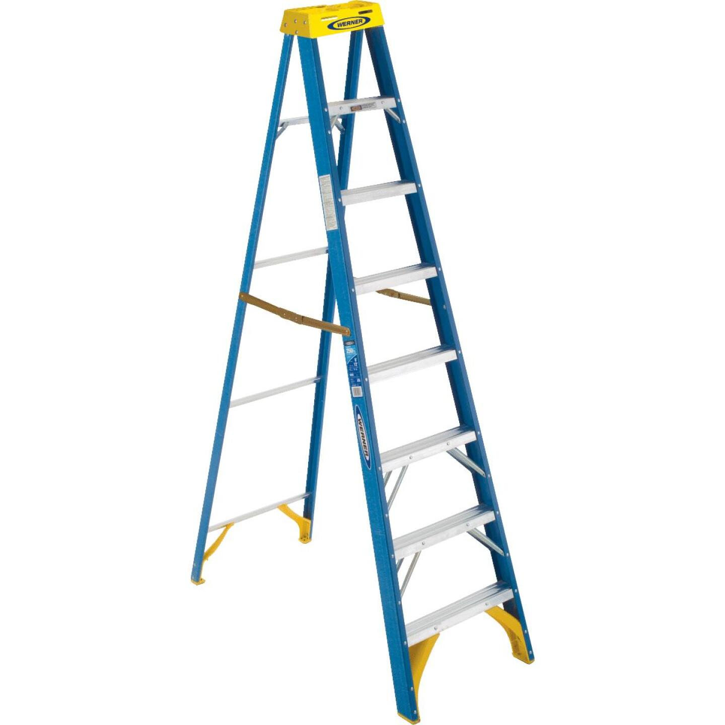 Werner 8 Ft. Fiberglass Step Ladder with 250 Lb. Load Capacity Type I Ladder Rating Image 1